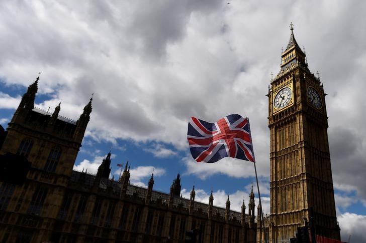 2017年6月7日,英国伦敦,议会大厦附近飘扬的英国国旗。REUTERS/Clodagh Kilcoyne