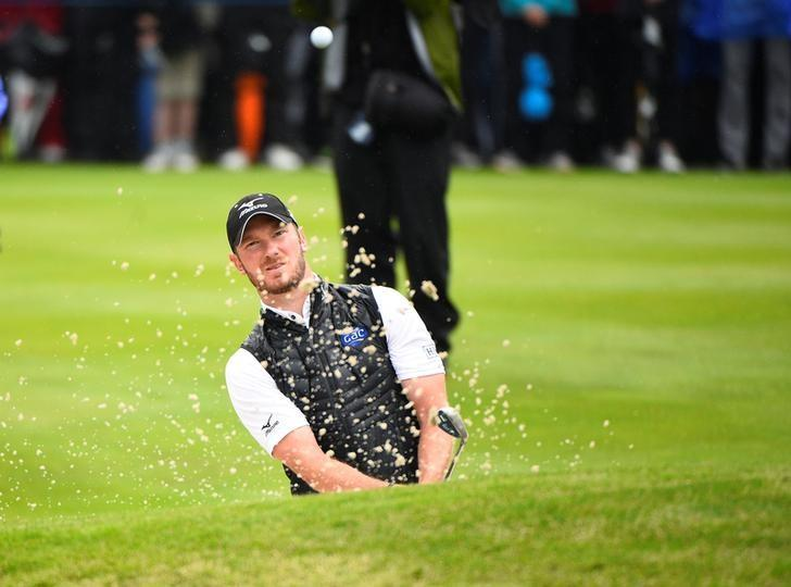 Golf - European Tour - Nordea Masters - Barseback, Sweden - 04/06/17 - England's Chris Wood plays a shot at green 18 during the fourth day of the tournament. TT News Agency/Emil Langvad via REUTERS