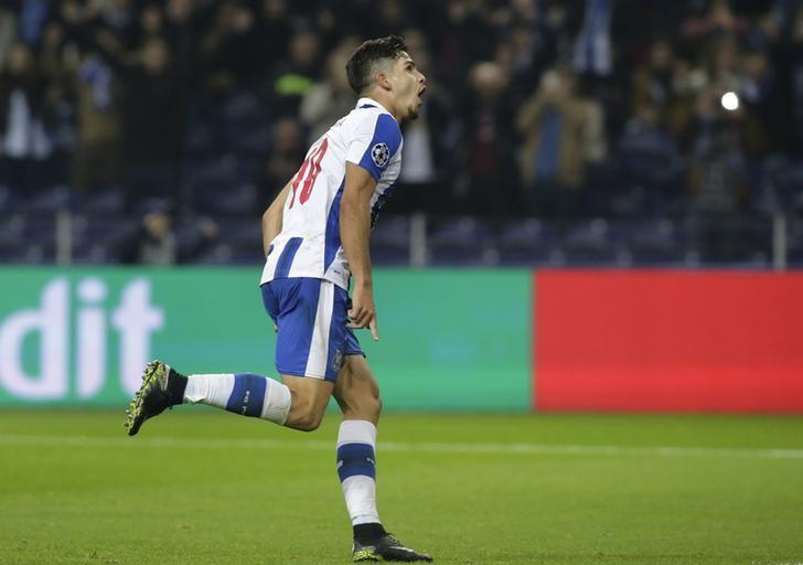 Football Soccer - FC Porto v Leicester City - UEFA Champions League Group Stage - Group G - Dragao Stadium, Oporto, Portugal  - 7/12/16 FC Porto's Andre Silva celebrates scoring their fourth goal Reuters / Miguel Vidal Livepic