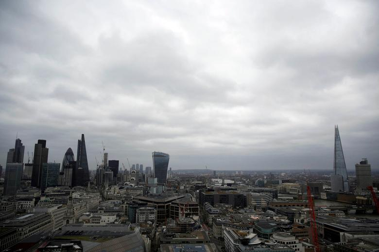 FILE PHOTO: A view of the London skyline shows the City of London financial district, seen from St Paul's Cathedral in London, Britain February 25, 2017. REUTERS/Neil Hall