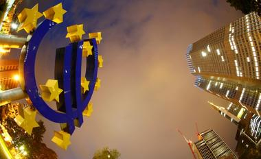 FILE PHOTO: The euro sign landmark is seen at the headquarters of the...
