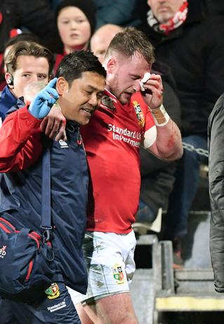 Rugby Union - British and Irish Lions v Crusaders - AMI Stadium, Christchurch, New Zealand - 10/6/17 - Stuart Hogg of the Lions leaves the field injured after clashing with one of his own players against the Crusaders. SNPA/Martin England/via REUTERS