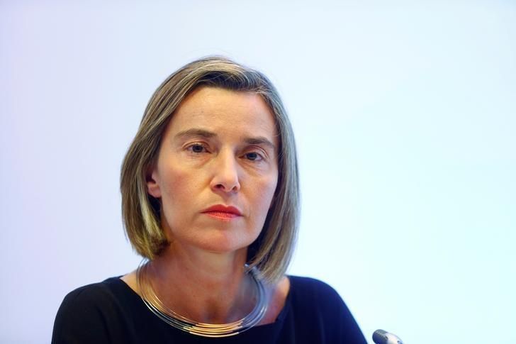 European Union foreign policy chief Federica Mogherini listens during a news conference in Tallinn, Estonia, May 12, 2017. REUTERS/Ints Kalnins/Files