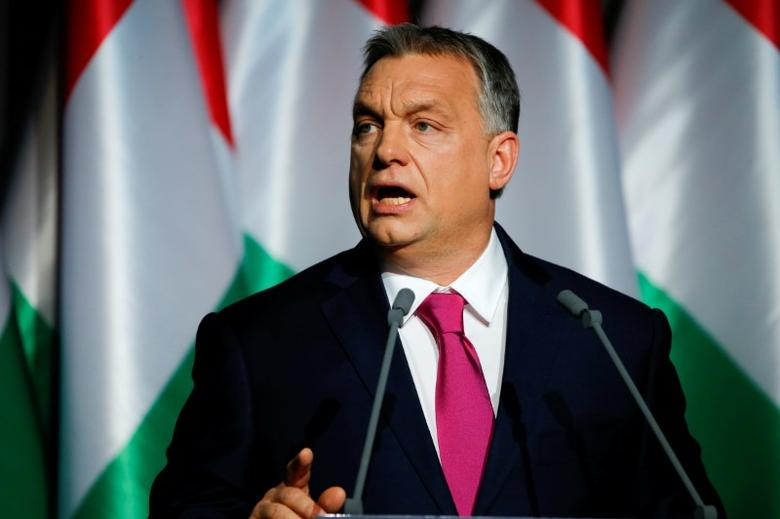 FILE PHOTO: Hungarian Prime Minister Viktor Orban speaks during his state-of-the-nation address in Budapest, Hungary, February 10, 2017. REUTERS/Laszlo Balogh/File Photo