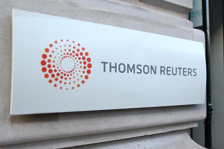 The logo of Thomson Reuters is pictured at the entrance of its Paris headquarters, France, March 7, 2016.   REUTERS/Charles Platiau/File Photo