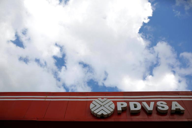 The logo of the Venezuelan state oil company PDVSA is seen at a gas station in Caracas, Venezuela August 10, 2016.  REUTERS/Marco Bello/File Photo