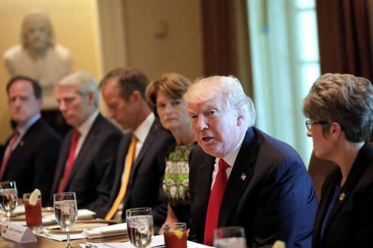 U.S. President Donald Trump attends a lunch meeting with members of Congress at the Cabinet Room of the White House in Washington, U.S., June 13, 2017. REUTERS/Carlos Barria