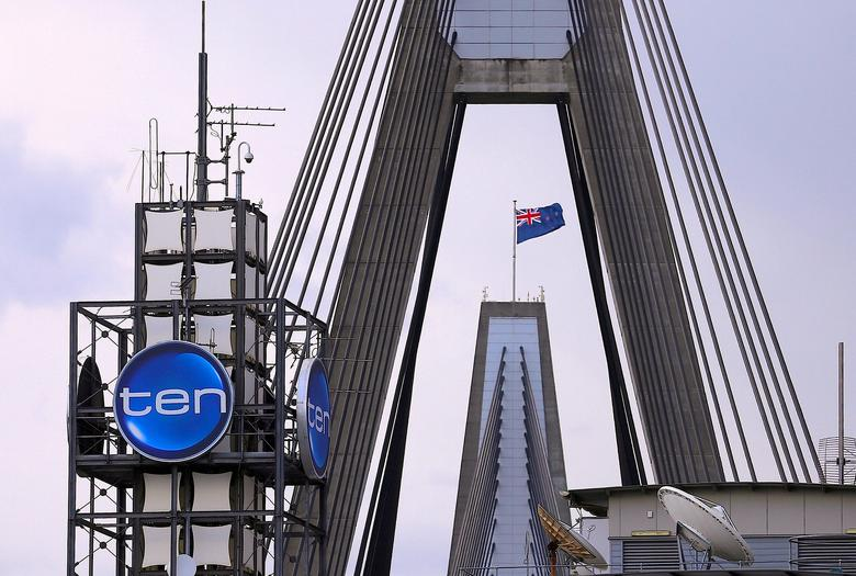 FILE PHOTO: The logo of Network Ten Pty Ltd is displayed above the company's headquarters in Sydney, Australia, April 26, 2017.    REUTERS/Steven Saphore/File Photo