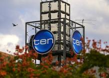 The logo of Network Ten Pty Ltd which is displayed above the company's headquarters in Sydney, Australia, April 26, 2017. REUTERS/Steven Saphore
