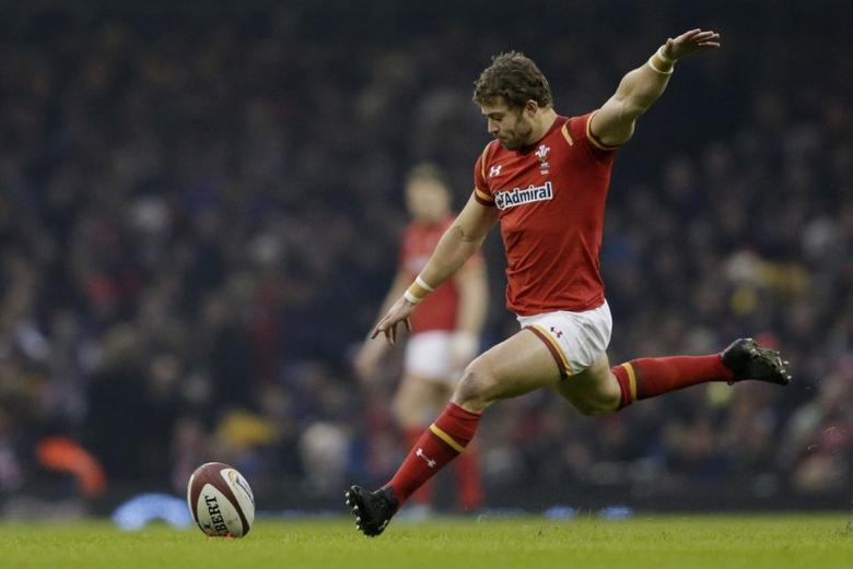 Britain Rugby Union - Wales v England - Six Nations Championship - Principality Stadium, Cardiff - 11/2/17 Wales' Leigh Halfpenny kicks a penalty Action Images via Reuters / Henry Browne Livepic