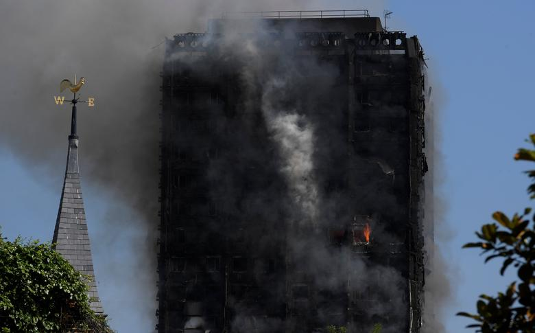 Smoke billows from a tower block severly damaged by a serious fire, in north Kensington, West London, Britain June 14, 2017. REUTERS/Toby Melville