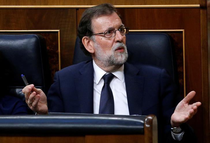 Spanish Prime Minister Mariano Rajoy reacts during a motion of no-confidence debate in parliament in Madrid, Spain, June 13, 2017. REUTERS/Juan Medina