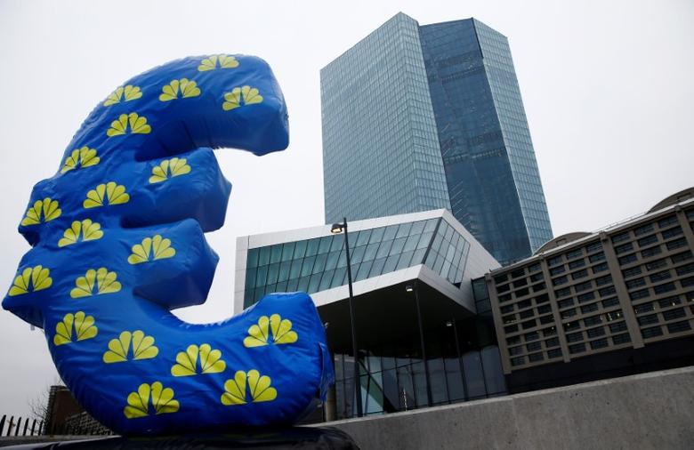 FILE PHOTO: Inflated euro sign is seen outside the new headquarters of the European Central Bank (ECB) in Frankfurt, January 22, 2015.  REUTERS/Kai Pfaffenbach/File Photo