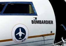A logo of jet manufacturer Bombardier is pictured on their booth during the European Business Aviation Convention & Exhibition (EBACE) in Geneva, Switzerland, May 22, 2017.  REUTERS/Denis Balibouse