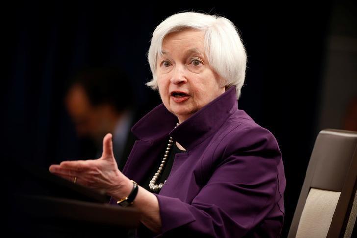 2017年6月14日,美国华盛顿,美联储主席叶伦在货币政策声明发布后的记者会上。REUTERS/Joshua Roberts