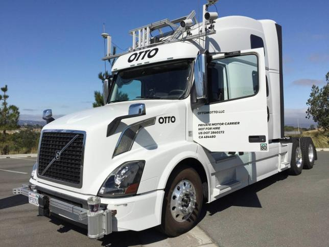 FILE PHOTO: An Autonomous trucking start-up Otto vehicle is shown during an announcing event in Concord, California, U.S. on August 4, 2016.   REUTERS/Alexandria Sage/File Photo