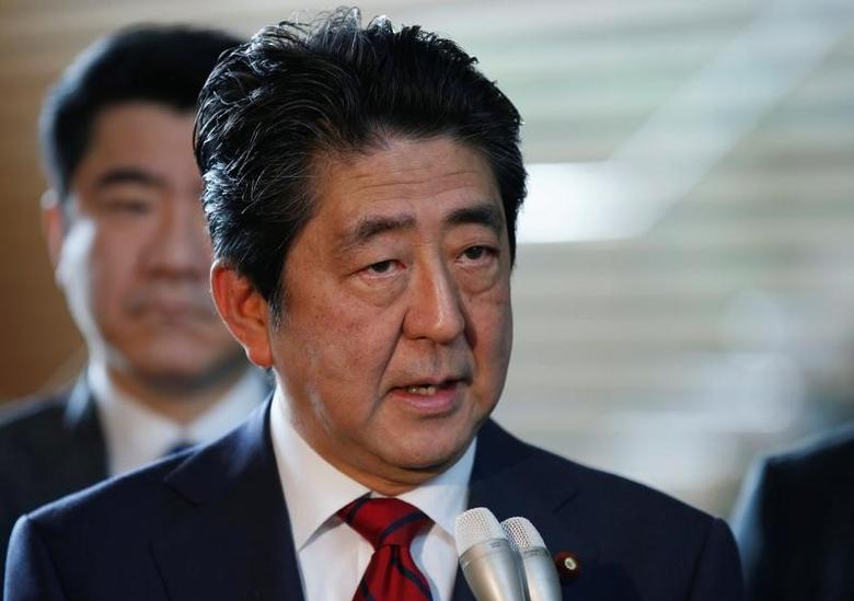Japan's Prime Minister Shinzo Abe speaks on reports of the launch of a North Korean missile to reporters , at his official residence in Tokyo, Japan May 29, 2017. REUTERS/Toru Hanai