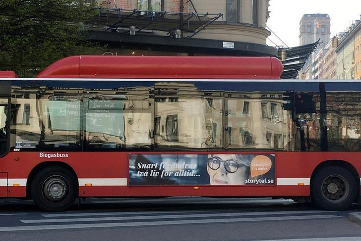 A Storytel advertisement is seen on a bus in Stockholm, Sweden, May 18, 2017. Picture taken May 18, 2017. REUTERS/Helena Soderpalm/files