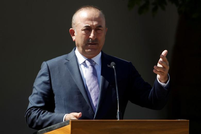 Turkey's Foreign Minister Mevlut Cavusoglu speaks to the media during a visit in the Turkish Cypriot northern part of the divided city of Nicosia, June 1, 2017. REUTERS/Yiannis Kourtoglou