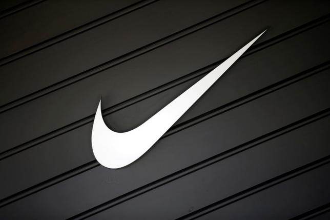 The logo of Nike (NKE) is seen in Los Angeles, California, United States, April 12, 2016. REUTERS/Lucy Nicholson/File Photo