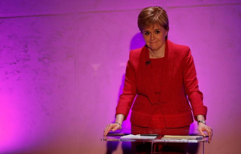 Nicola Sturgeon, First Minister of Scotland, smiles during a live election debate for Scottish political party leaders in Glasgow, Scotland, Britain June 6, 2017. REUTERS/Russell Cheyne