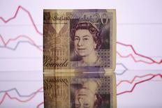 Банкнота в 20 фунтов. Британский фунт вырос в четверг после признаков перемены настроений Банка Англии, который удерживает ставки на рекордно низком уровне, в то время как ожидания дальнейших повышений ставок ФРС поддержали доллар.  REUTERS/Dado Ruvic