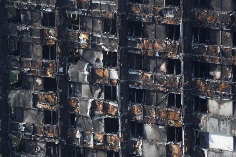 Damage to the tower block destroyed in a fire in north Kensington, West London. REUTERS/Peter Nicholls
