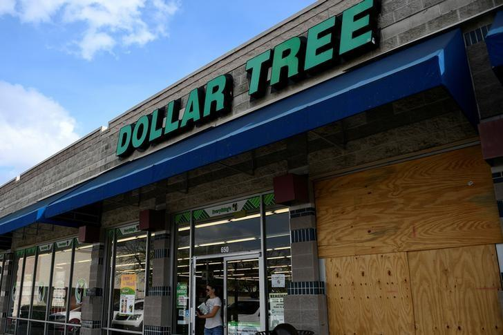 A customer walks out of a Dollar Tree discount store in Austin, Texas, U.S., February 27, 2017.  REUTERS/Mohammad Khursheed