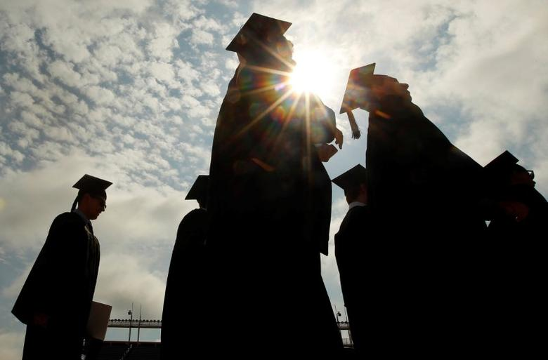 FILE PHOTO: Graduating students arrive for Commencement Exercises at Boston College in Boston, Massachusetts, U.S. on May 20, 2013. REUTERS/Brian Snyder/File Photo
