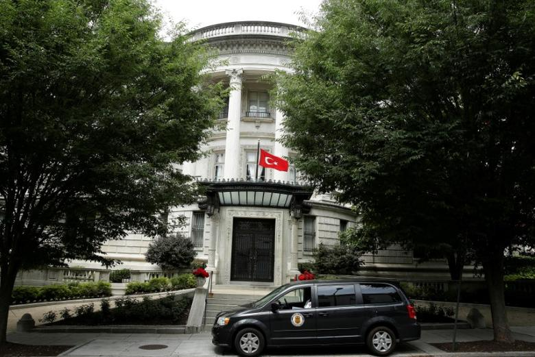 The Turkish flag flies over the the Turkish Ambassador's residence in Washington, U.S., June 15, 2017.   REUTERS/Joshua Roberts     TPX IMAGES OF THE DAY