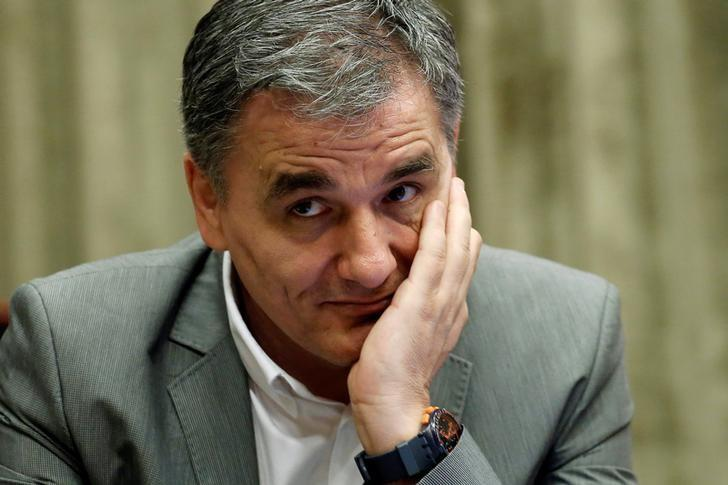 Greek Finance Minister Euclid Tsakalotos attends a cabinet meeting at the parliament in Athens, Greece June 13, 2017. REUTERS/Costas Baltas