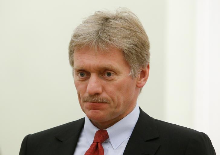 Kremlin spokesman Dmitry Peskov attends a meeting of Russia's President Vladimir Putin with his Macedonian counterpart Gjorge Ivanov at the Kremlin in Moscow, Russia, May 24, 2017. REUTERS/Sergei Karpukhin