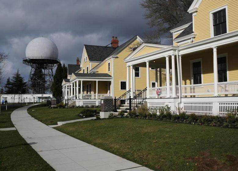 Officers' housing for sale in Discovery Park, formerly known as Fort Lawton, are seen near a functioning FAA air traffic control radar dome in Seattle, Washington, U.S. February 11, 2017.  REUTERS/Chris Helgren