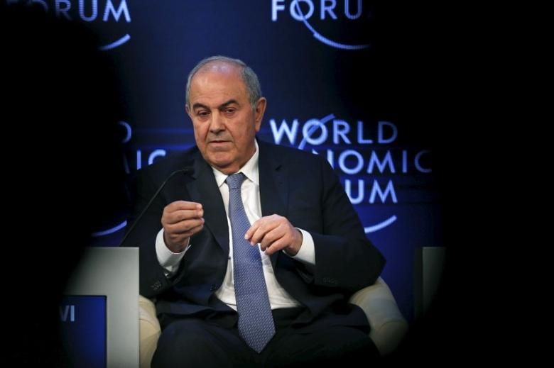 FILE PHOTO - Iraq's Vice President Iyad Allawi speaks during the ''Addressing violent extremism, a shared responsibility'' session on the last day of the World Economic Forum (WEF) on the Middle East and North Africa at the King Hussein Convention Centre at the Dead Sea May 23, 2015. REUTERS/Muhammad Hamed