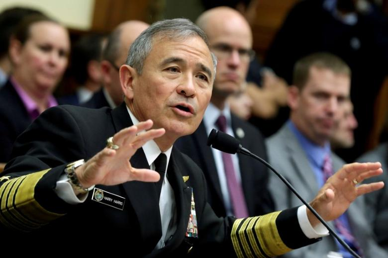 FILE PHOTO -  The Commander of the U.S. Pacific Command, Admiral Harry Harris, testifies before a House Armed Services Committee hearing on Capitol Hill in Washington, U.S. on April 26, 2017. REUTERS/Yuri Gripas/File Photo
