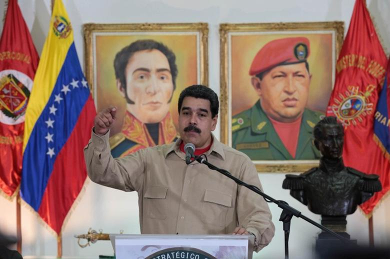 Venezuela's President Nicolas Maduro speaks during a meeting with soldiers and military officers at the headquarters of the Ministry of Defense in Caracas, Venezuela June 15, 2017. Picture taken June 15, 2017. Miraflores Palace/Handout via REUTERS