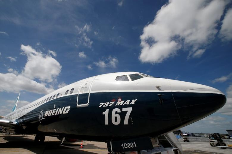 A Boeing 737 MAX is seen on the static display, before the opening of the 52nd Paris Air Show at Le Bourget airport near Paris, France, June 16, 2017. REUTERS/Pascal Rossignol