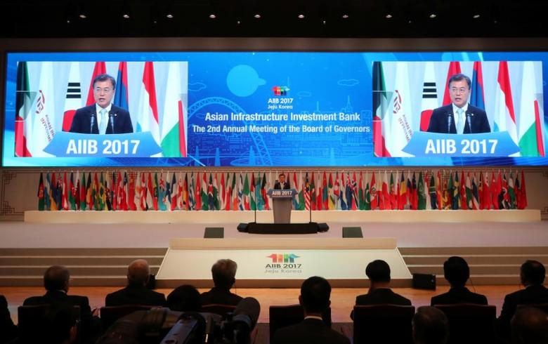 South Korean President Moon Jae-in delivers a speech during an opening ceremony for 2nd annual meeting of Asian Infrastructure Investment Bank (AIIB), in Jeju, South Korea June 16, 2017.  Bae Jae-man/Yonhap via REUTERS