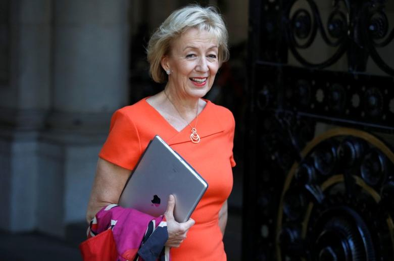 FILE PHOTO: Britain's Environment Secretary Andrea Leadsom arrives at Downing Street in London, Britain June 11, 2017. REUTERS/Phil Noble