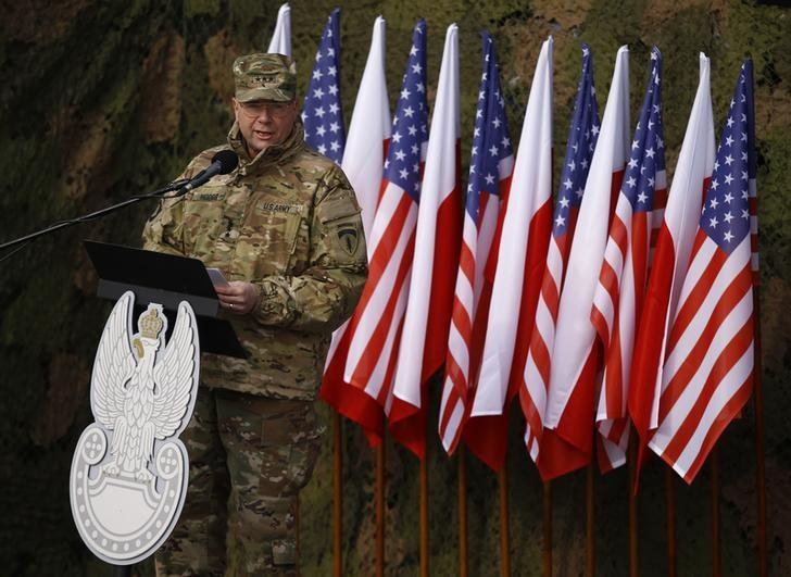 U.S Army Europe Commanding General Ben Hodges speaks during the inauguration ceremony of bilateral military training between U.S. and Polish troops in Zagan, Poland, January 30, 2017. REUTERS/Kacper Pempel/Files