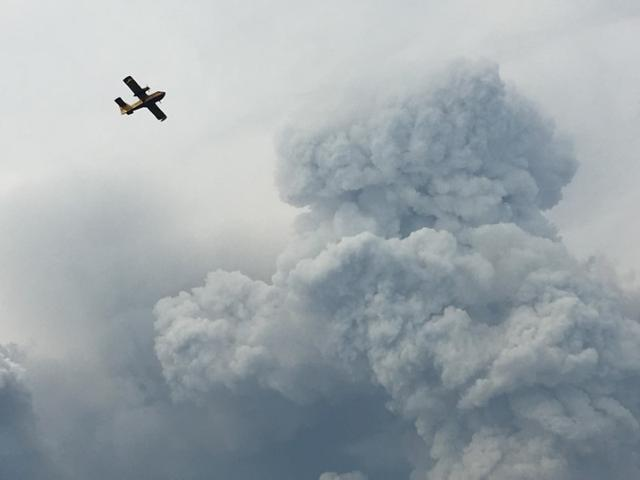 A fire fighting plane passes smoke as it pulls up from the Zezere River after picking up water to put out forest fires in the area near Pedrogao Grande, June 18, 2017.   REUTERS/Axel Bugge