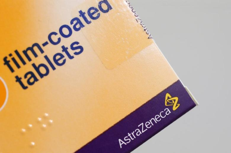 FILE PHOTO: The logo of AstraZeneca is seen on a medication package in a pharmacy in London, Britain, April 28, 2014.    REUTERS/Stefan Wermuth/File Photo