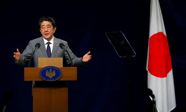 Japanese Prime Minister Shinzo Abe attends a news conference at the end of the G7 Summit in Taormina, Sicily, Italy, May 27, 2017. REUTERS/Tony Gentille