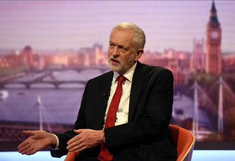 Jeremy Corbyn, leader of Britain's opposition Labour Party speaks on the BBC's Marr Show in London, Britain, June 11, 2017. Jeff Overs/BBC Handout via REUTERS. ATTENTION EDITORS - THIS IMAGE HAS BEEN SUPPLIED BY A THIRD PARTY. IT IS DISTRIBUTED, EXACTLY AS RECEIVED BY REUTERS, AS A SERVICE TO CLIENTS. NO RESALES. NO ARCHIVES.
