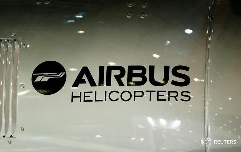 A logo of Airbus helicopters is pictured on their booth during the European Business Aviation Convention & Exhibition (EBACE) in Geneva, Switzerland, May 22, 2017.  REUTERS/Denis Balibouse - RTX37E8Y