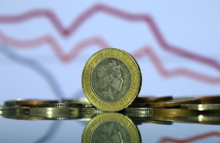 Pound coins are seen in front of displayed stock graph in this picture illustration taken June 9, 2017. REUTERS/Dado Ruvic/Illustration