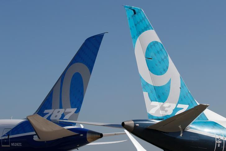 Empennage of a Boeing 737 MAX and a 787 are seen on the static display, before the opening of the 52nd Paris Air Show at Le Bourget Airport near Paris, France June 17, 2017. REUTERS/Pascal Rossignol