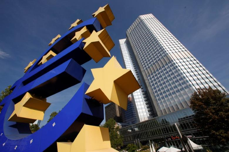 A huge Euro logo is pictured by the headquarters of the European Central Bank (ECB) in Frankfurt, September 29, 2011. REUTERS/Ralph Orlowski/File Photo