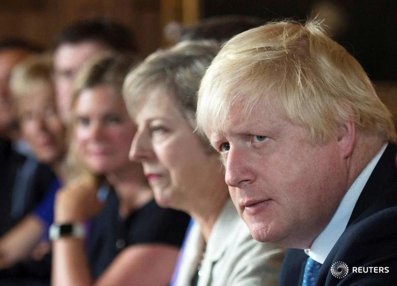 FILE PHOTO - Foreign Secretary Boris Johnson attends a cabinet meeting hosted by Theresa May at the Prime Minister's country retreat Chequers in Buckinghamshire to discuss department-by-department Brexit action plans, Britain August 31, 2016. REUTERS/Stefan Rousseau/Pool/File Photo - RTS16J0U
