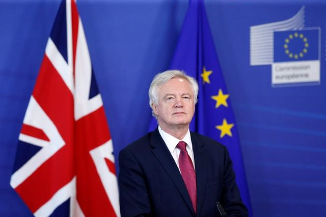 Britain's Secretary of State for Exiting the European Union David Davis speaks at the European Commission ahead of their first day of talks in Brussels, Belgium, June 19, 2017.    REUTERS/Francois Lenoir